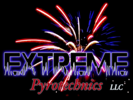 Extreme Pyrotechnics commercial fireworks display presentation service logo.